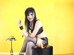 Fair skinned babe in fishnet stockings enjoying a smoke videos