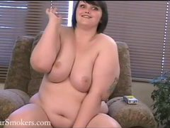 Very cute bbw babe strips down as she enjoys a smoke videos