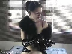 Smoking in shiny black latex gloves movies at find-best-lingerie.com