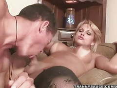 Blonde shemale gets her cock sucked on by a stud movies at freelingerie.us
