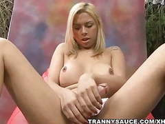 Sexy shemale angel star tugging on her hard cock movies at find-best-pussy.com