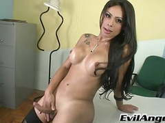Beautiful shemale strokes her cock until she comes movies at freekilomovies.com