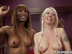 Busty ebony ts fucks blondy till cum on tits movies