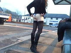 Tranny daring public bus station movies at freekiloclips.com
