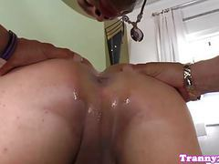 Busty tgirl wanks cumload while barebacked movies