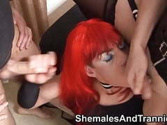 Redhead tranny takes 2 facial cumshots movies at find-best-babes.com