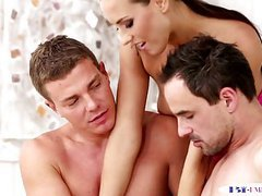 Kinky babe trio with bisexual muscle hunks movies at freelingerie.us