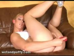 Exotic looking euro blonde bangs vagina with toy movies at freekilosex.com