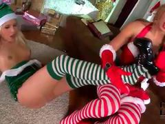 Lesbian foot fetish foreplay with christmas lingerie girls videos