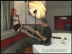 He must worship her gorgeous feet in stockings movies at kilovideos.com