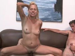 Blonde slut is happy to have three dicks inside her videos