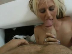 Blonde with a lean body gives head in pov tubes