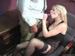 She kicks his balls and sucks another dick in office movies at find-best-panties.com