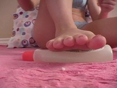 Her red toenail polish is gorgeous up close tubes