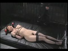 Asian tied in stockings whipped and hot waxed tubes at korean.sgirls.net