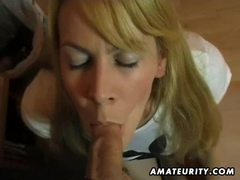 Busty amateur girlfriend sucks and fucks and eats cum movies at lingerie-mania.com