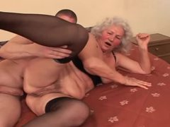 Naughty granny in sexy lingerie enjoying younger cock videos