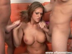 Busty girl jacks off two cocks onto her tits movies at kilopics.net