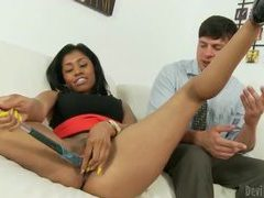 Hot ebony babe teasing her boss with her pretty pussy tubes