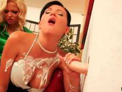 Well dressed women in satin use dildos movies at sgirls.net