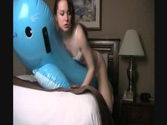 Clothed cutie rides inflatable pool toys movies at reflexxx.net