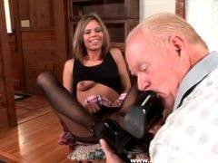 Old guy worships her feet in stockings movies at sgirls.net