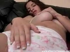 She wears huge panties and rubs her vagina videos