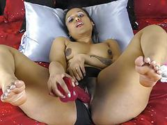 Indian with big ass and thighs pounding pussy with dildos tubes