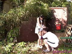 Tiny japanese babe fucked between legs outdoors videos
