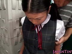 Innocent asian schoolgirl tasting cum closeup tubes at japanese.sgirls.net