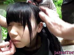 Weird japanese group play with squirting teen tubes at lingerie-mania.com