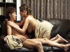 Jap milf wears in new sofa with lover tubes at lingerie-mania.com