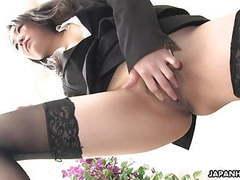 Japanese girl in nylon stockings masturbates movies