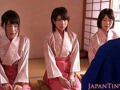 Petite femdom japanese kimono babes jump on dude movies