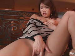 Shy asian babe fingers her pussy for the camera movies