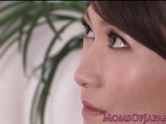 Petite japanese milf rubs her sweet clit tubes at lingerie-mania.com