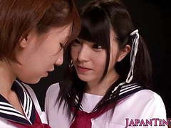 Tiny asian schoolgirls enjoy lesbian love with squirting movies