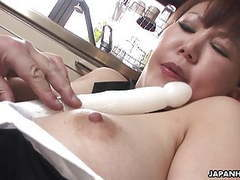 Chubby japanese milf moans while her hairy pussy is toyed movies