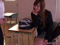 Tokyo schoolgirl creampied then tastes cum movies