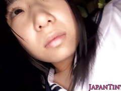 Innocent japanese schoolgirl swallows cum tubes at lingerie-mania.com
