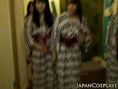 Japanese babe jerking in group tubes at lingerie-mania.com