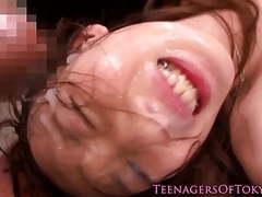 Pretty japanese teen at a messy bukkake movies