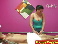 Asian masseuse wanking her massage client tubes at find-best-asian.com