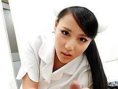 Smooth asian nurse getting banged from the back doggy style tubes at asian.sgirls.net