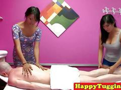Asian massage threeway with babes wanking clip