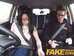 Fake driving school wild ride for petite british asian videos