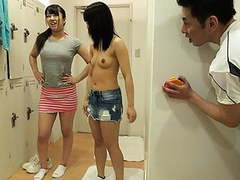 Two cute japanese babes get drilled in the locker room tubes at asian.sgirls.net
