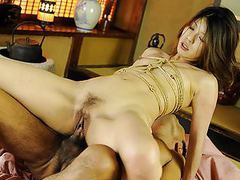 Roped asian gags on a hairy boner after being fingered tubes at find-best-asian.com