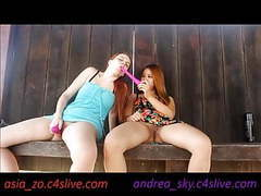 Andrea sky and asia zo public park masturbation tubes at asian.sgirls.net
