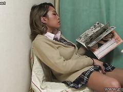 Japanese schoolgirl caught masturbating under desk videos